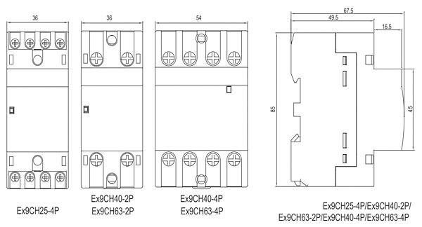 Rys. 6. Styczniki Ex9CH dla prądu 25 A (trójfazowe), 40 i 63 A (jednofazowe) mają dwa moduły szerokości, natomiast styczniki trójfazowe na prąd 40 i 63 A – trzy moduły szerokości