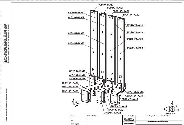Przykładowa dokumentacja połączeń miedzianych w rozdzielnicy Sivacon S4