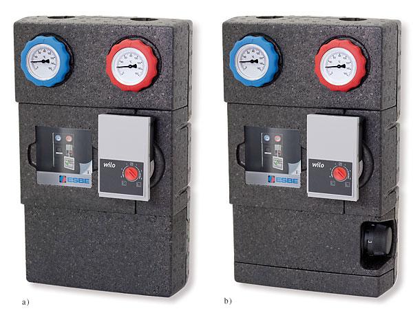 Rys. 1. Gupy pompowe: a – GDA100 – bezpośrednia, do układów grzewczych o mocy do 64 kW, b – GFA100 – z zaworem termostatycznym, do układów ogrzewania o mocy do 48 kW