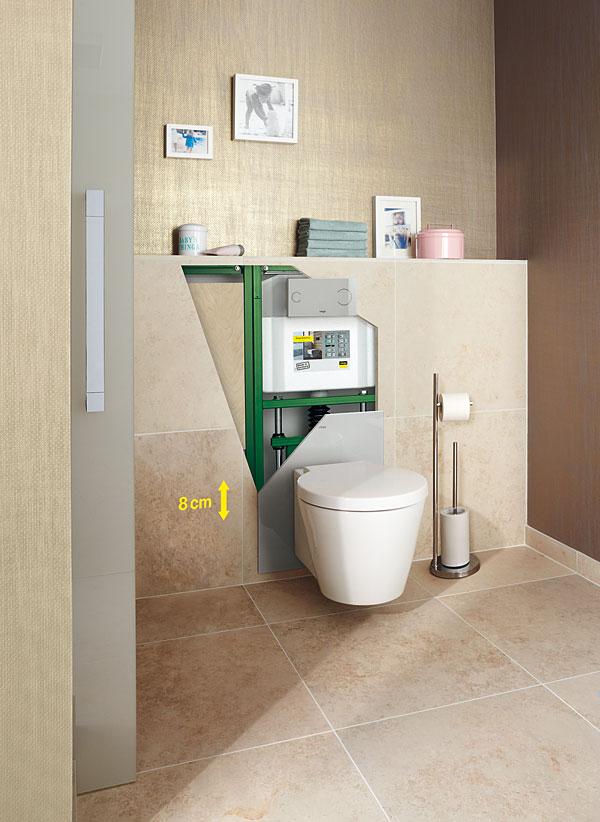 Uchwyty przy WC nie są zwykle priorytetem podczas projektowania łazienki, ale z czasem mogą okazać się przydatne. Dzięki elementom montażowym zintegrowanym ze stelażem podtynkowym, w razie potrzeby w przyszłości szybko i bezproblemowo można zamocować uchwyty do płyty wiórowej