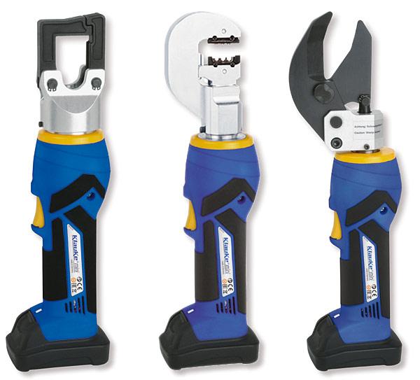 Rys. 1. Nowe narzędzia z serii Klauke mini: a – zaciskarka EK35/4 ML, b – zaciskarka EK15/50 ML, c – nożyce ES32 ML