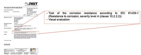 Przykładowy raport  z badania na wytrzymałość na korozję